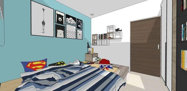 登陽建設 登陽廊香 小孩房造型層板系統櫃設計