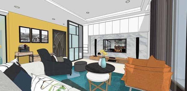 登陽建設 登陽廊香 客廳空間電視牆系統收納櫃設計