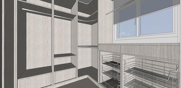 登陽建設 登陽廊香 主臥室更衣室系統櫃設計