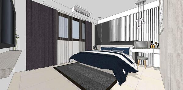 登陽建設 登陽廊香 主臥室空間床頭系統化妝檯櫃設計
