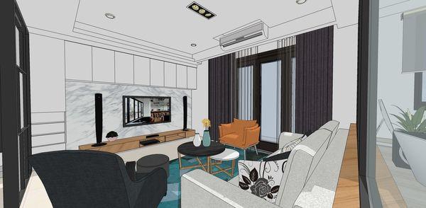 登陽建設 登陽廊香 客廳空間電視牆系統櫃設計.jpg