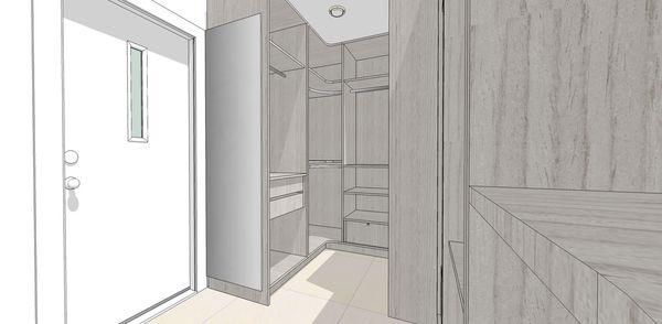 登陽建設 登陽廊香 主臥室更衣室開放式系統衣櫃設計