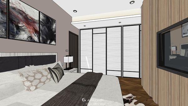勝麗建設 雲天大地 主臥室空間系統滑門衣櫃設計.jpg