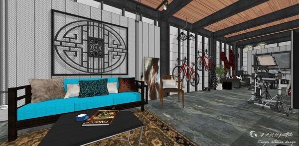 貨櫃屋設計 中國工業風 客廳空間沙發背牆設計.jpg