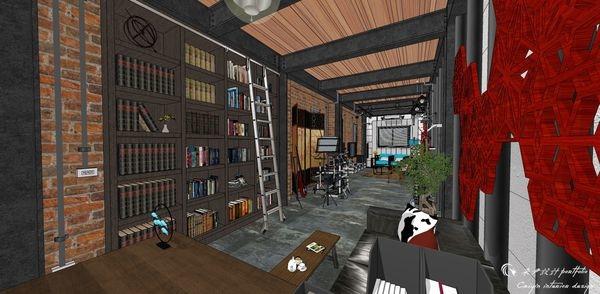 貨櫃屋設計 中國工業風 書房區系統收納書櫃設計.jpg