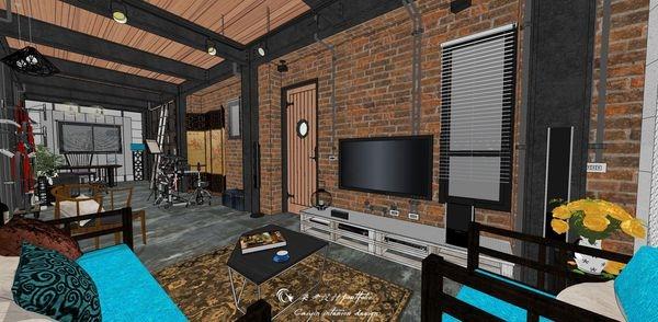 貨櫃屋設計 中國工業風 客廳空間系統電視櫃設計.jpg