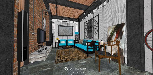 貨櫃屋設計 中國工業風 造型天花板設計.jpg