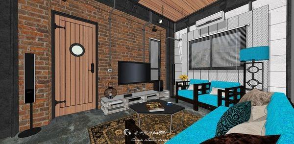 貨櫃屋設計 中國工業風 電視牆系統電視櫃設計.jpg