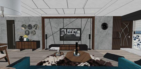 大台中新市 老屋翻新 客廳空間電視牆系統電視櫃設計.jpg