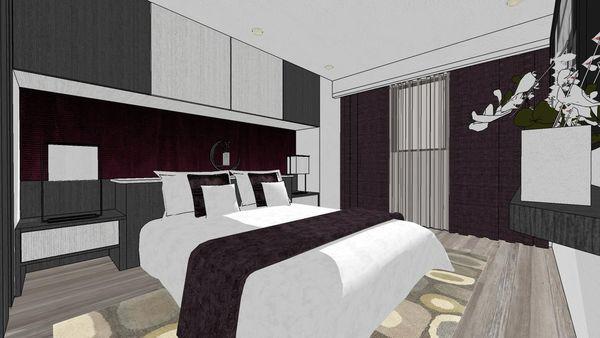 大台中新市 老屋翻新 主臥室空間床頭收納系統櫃設計 (2).jpg