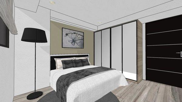大台中新市 老屋翻新 次臥室空間系統收納衣櫃設計.jpg