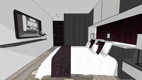 大台中新市 老屋翻新 主臥室空間床頭收納系統櫃設計.jpg
