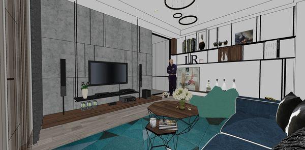 台中老屋翻新改造 客廳空間展示櫃設計.jpg