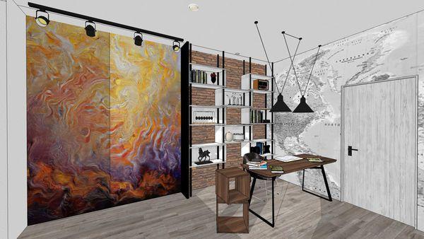 台中東勢老屋改造 臥室空間書房區 系統櫃設計.jpg