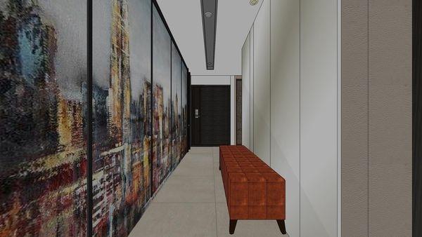 台南府都建設 DOUBLE ONE 電梯口空間造型鞋櫃設計.jpg