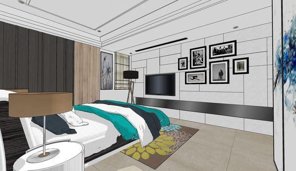 台南府都建設 DOUBLE 主臥室空間造型電視牆設計.jpg