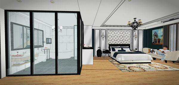 汽車旅館設計 衛浴空間鋁框門設計.jpg