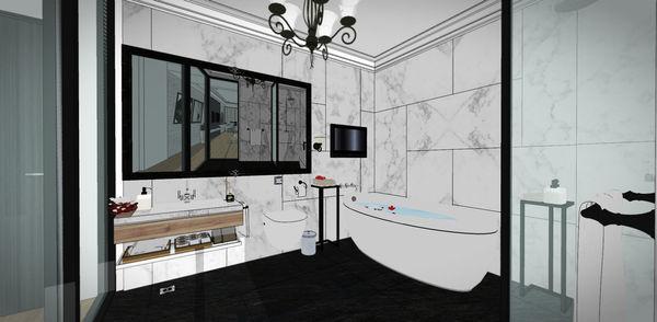 汽車旅館設計 衛浴空間大理石切割造型牆面設計.jpg