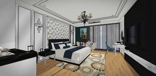 汽車旅館設計 電視牆造型系統電視櫃設計.jpg