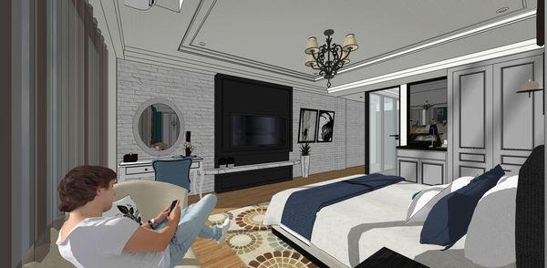 汽車旅館設計 文化石電視牆設計.jpg