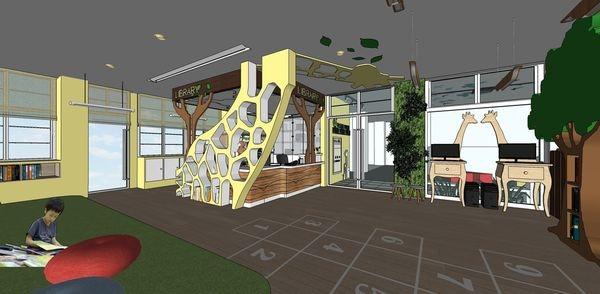 圖書館空間室內設計 長頸鹿造型櫃台設計.jpg