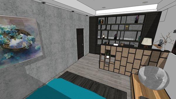 台中老屋翻新 主臥室空間系統書櫃設計.jpg