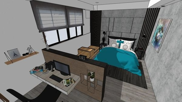 台中老屋翻新 主臥室空間系統書桌設計.jpg