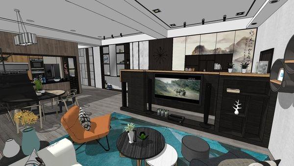 台中老屋翻新 客廳空間系統電視櫃設計.jpg