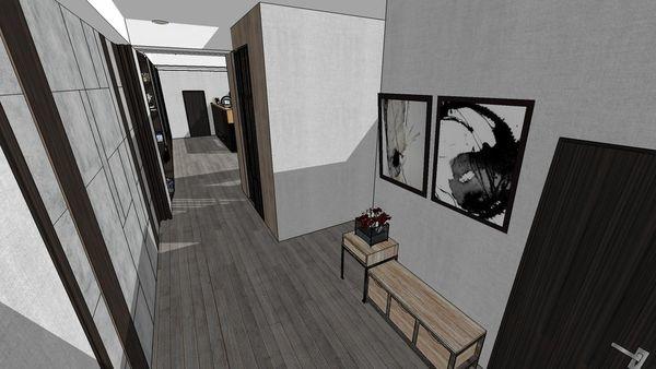 台中老屋翻新 走道空間系統收納矮櫃設計.jpg