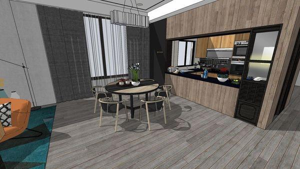 台中老屋翻新 餐廳空間收納系統櫥櫃設計.jpg