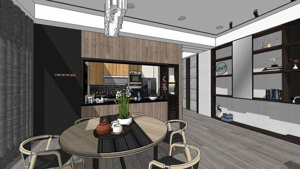 台中老屋翻新 餐廳空間展示系統櫃設計.jpg