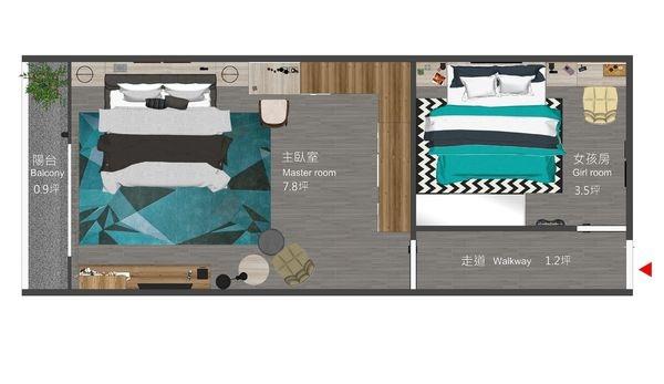 南投 草屯 老屋翻新 二樓臥室空間設計規劃平面圖.jpg