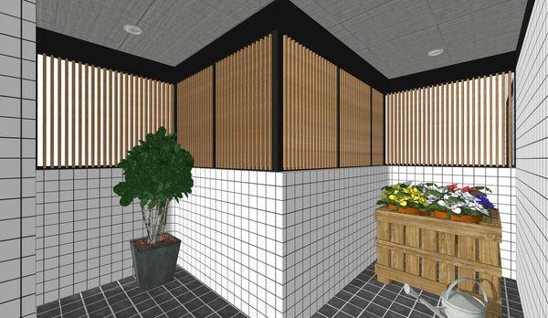 烏日老屋改造翻新 入口處空間木格柵設計.jpg
