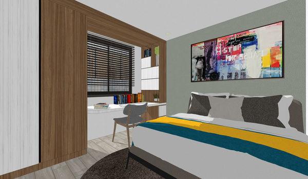 烏日老屋改造翻新 次臥室空間系統書桌收納衣櫃設計.jpg