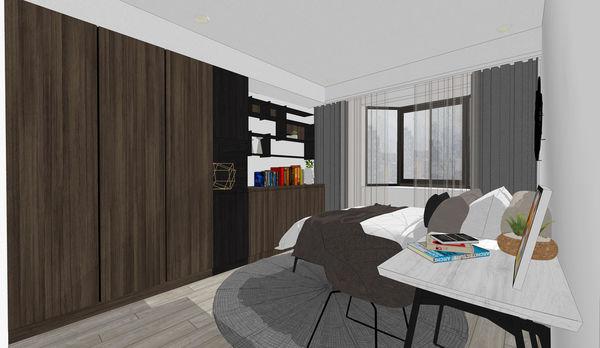 烏日老屋改造翻新 次臥室空間系統衣櫃設計.jpg