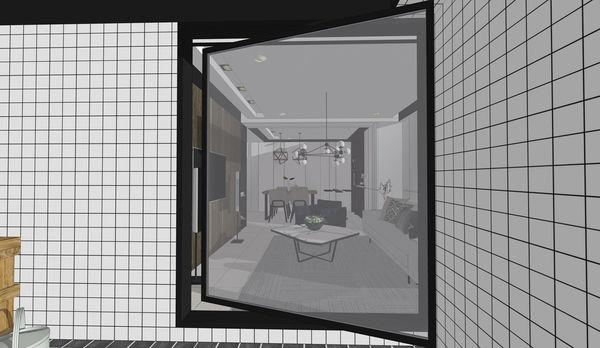 烏日老屋改造翻新 玄關空間鋁框旋轉門設計.jpg