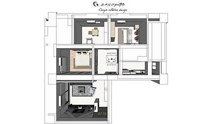 登陽中山苑-平面規劃設計 現代設計的sketchup表現
