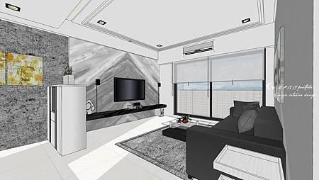 客廳空間sketchup設計,搭配窗戶外部場景設定圖檔,呈現效果更加.