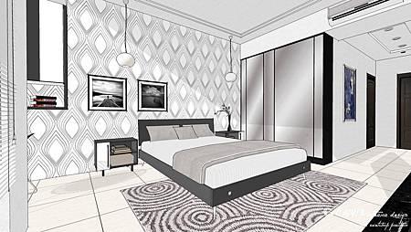 現代設計基本上利用特殊性壁紙或是地毯表現,都可以輕易展現線帶俐落的線條.sketchup黑白線條設計