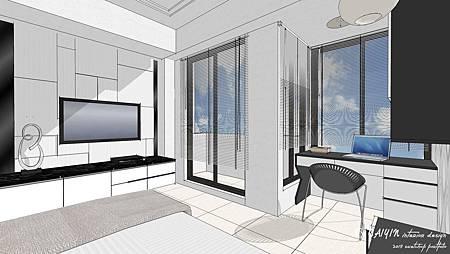 窗台表現方式,加上窗簾以及天空貼圖來作為窗景設定