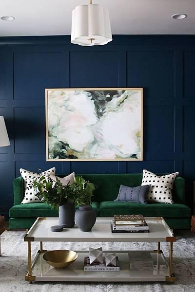 設計參考-藍色壁面搭配綠色沙發