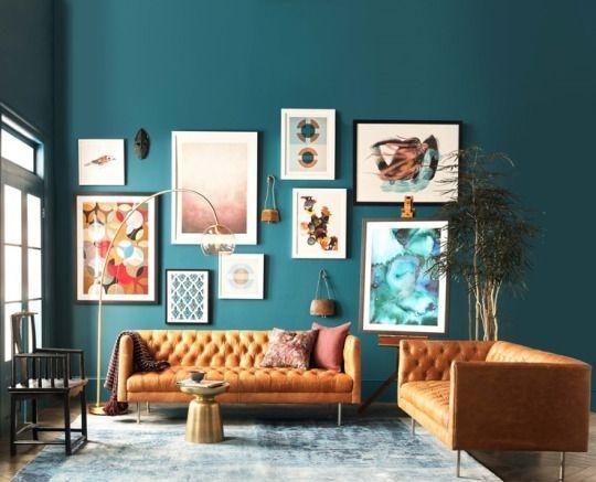 設計參考-藍色壁面搭配橘色沙發