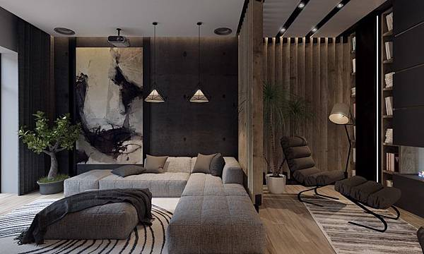 artwork-inspired-large-wall-art-living-room-painting-decorative-lightning-grey-sofa-yellow-chair-motif-rug-wooden-floor-bookcase-books-tree-820x492.jpg