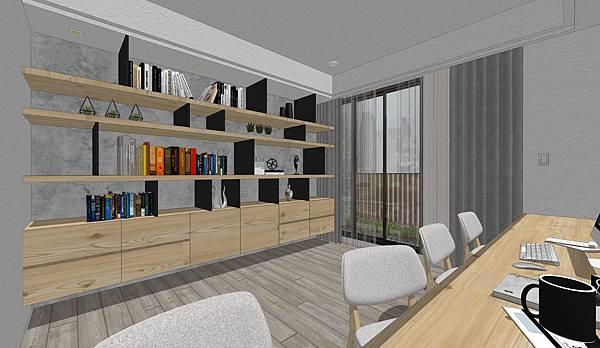 國泰建設 國泰頤湖苑 書房空間鐵件書櫃設計.jpg