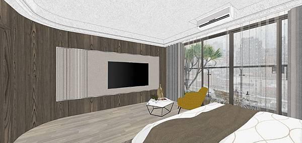 樹禾院住宅設計 二樓主臥室電視牆設計.jpg