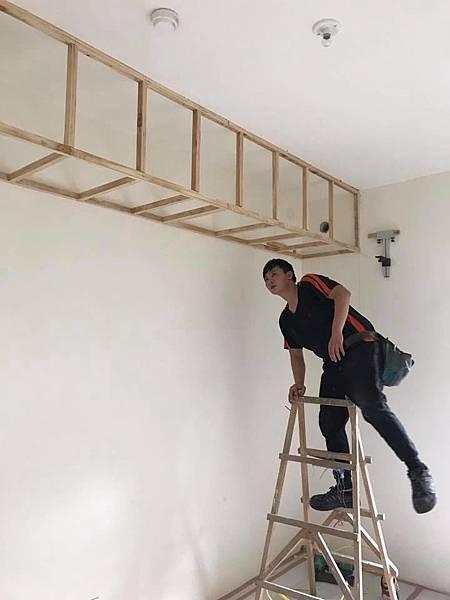 惠宇新觀住宅設計 女孩房天花板冷氣包樑施工.jpg