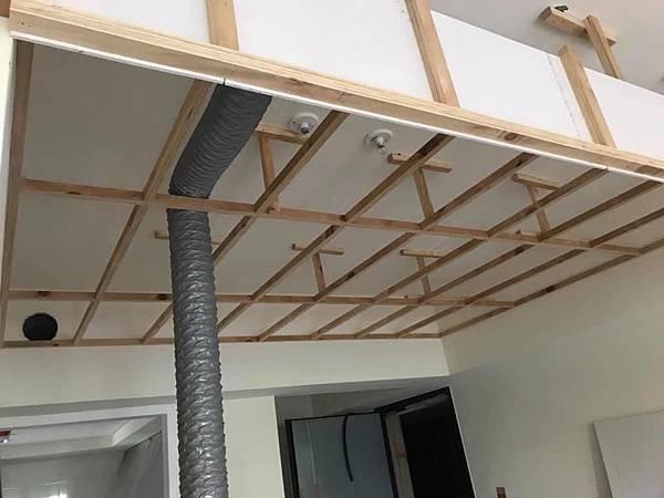 惠宇新觀室內設計 餐廳空間天花板木作角材結構施工紀錄.jpg