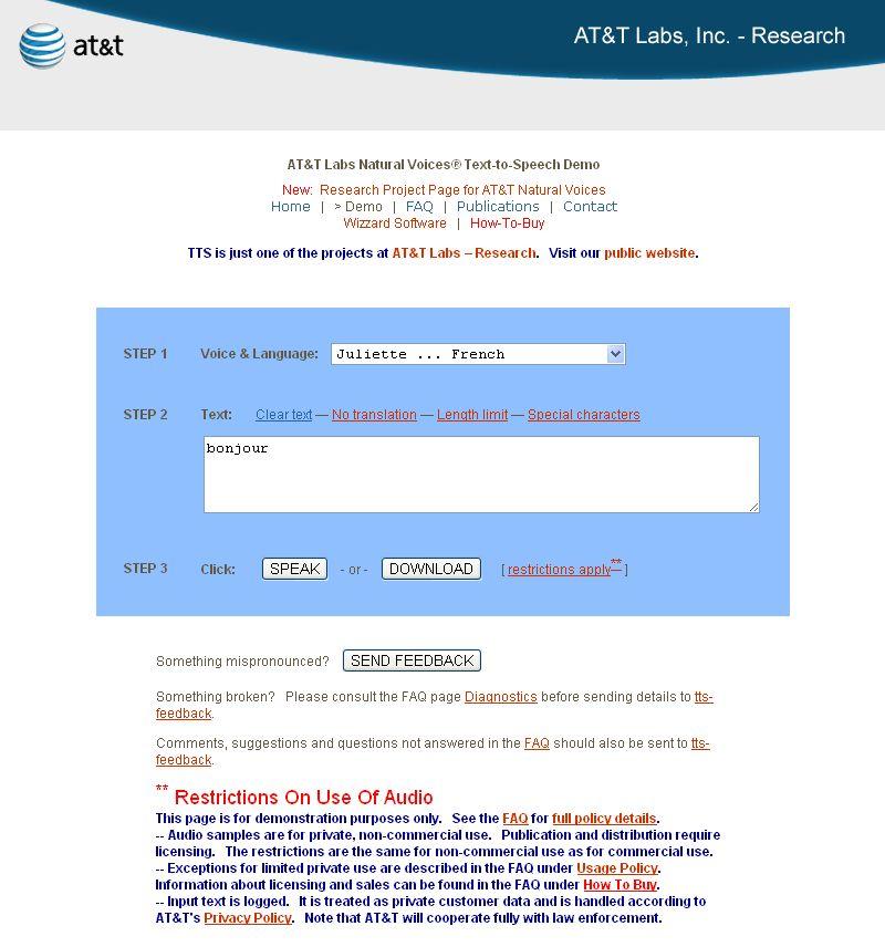 《法文專區》線上學習網站:法文線上真人發音-AT&T