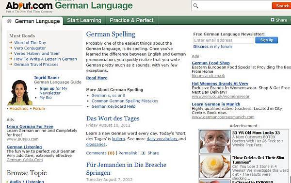 《德文專區》線上學習網站:About.com German Language (學習德語語法、詞彙和文化等)