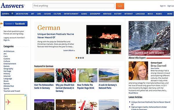 《德文專區》線上學習網站:German.Answers.com